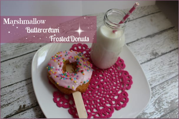 pink marshmallow buttercream frosted donuts